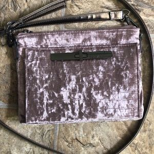 Purple velvet cross body bag